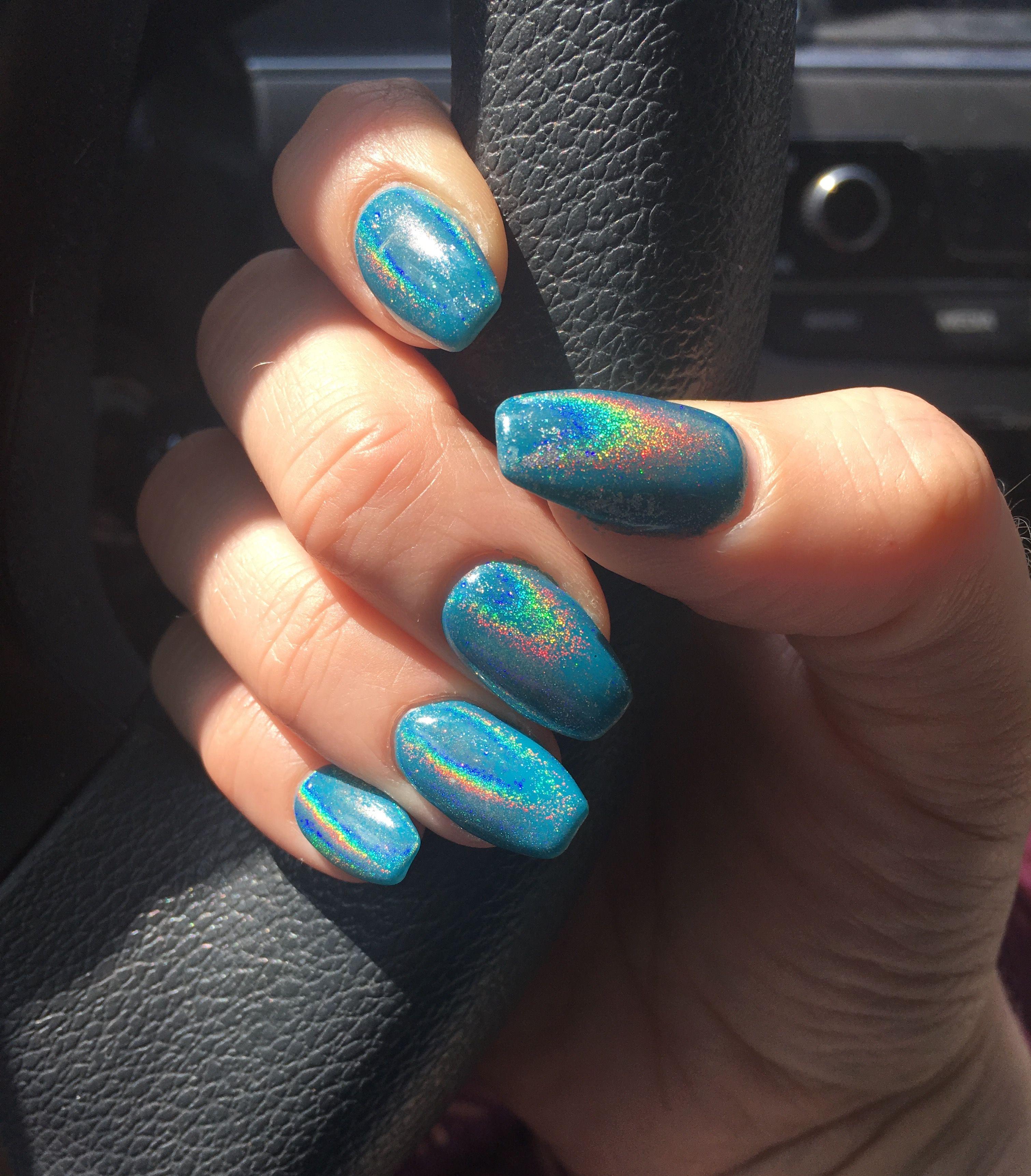 unicorn nails chrome 2017
