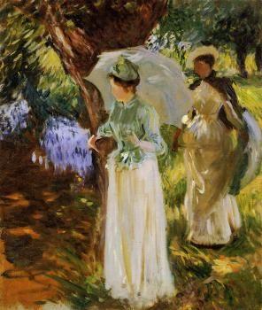 Two Girls with Parasols at Fladbury - John Singer Sargent - The ...