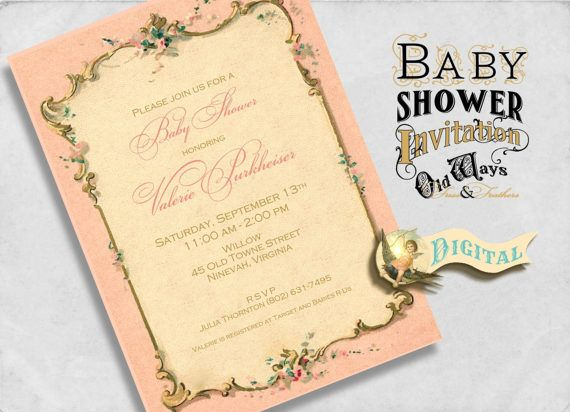 French paper vintage baby shower invitation baby girl sip sip and french paper vintage baby shower invitation baby girl sip filmwisefo