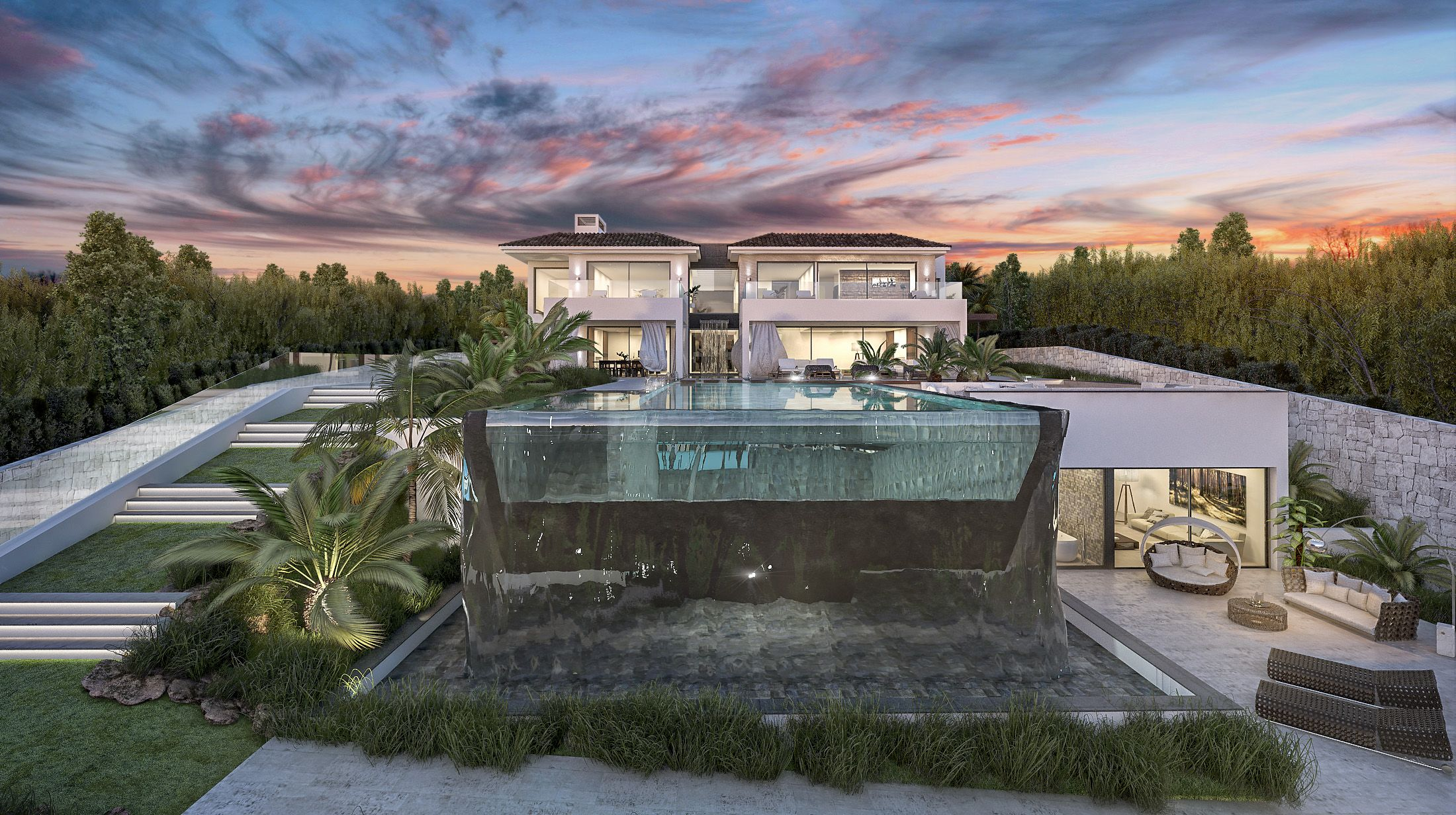 Stunning contemporary home with spectacular pool design for Villa de luxe contemporaine