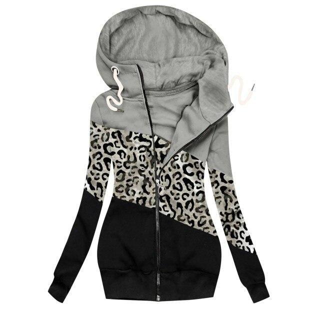 Women's Winter Casual Leopard Prints Jacket / Zipper Sweatshirt / Long Sleeve / Winter Thick / Warm Jacket – Gray / XXL / United States