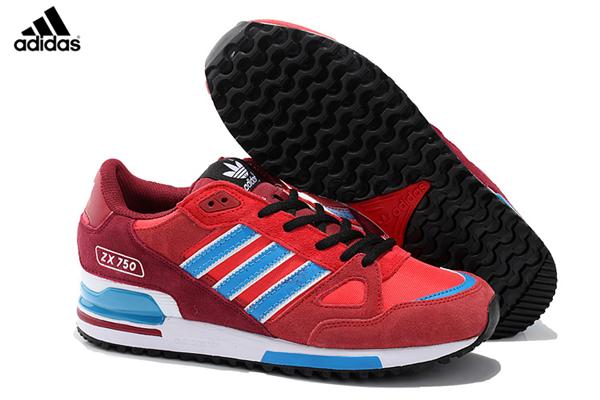 Men s Women s Adidas Originals ZX 750 Shoes University Red Blue Core Black  D65231 a6e944742