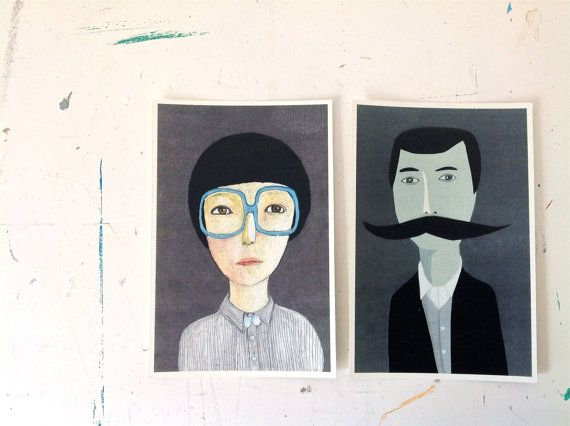 2 postcard portraits