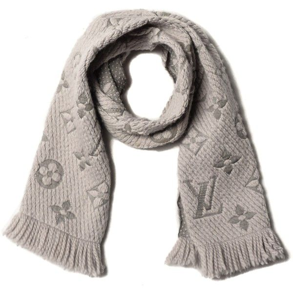 d2072180c4 LOUIS VUITTON Wool Silk Logomania Scarf Pearl Grey ❤ liked on ...