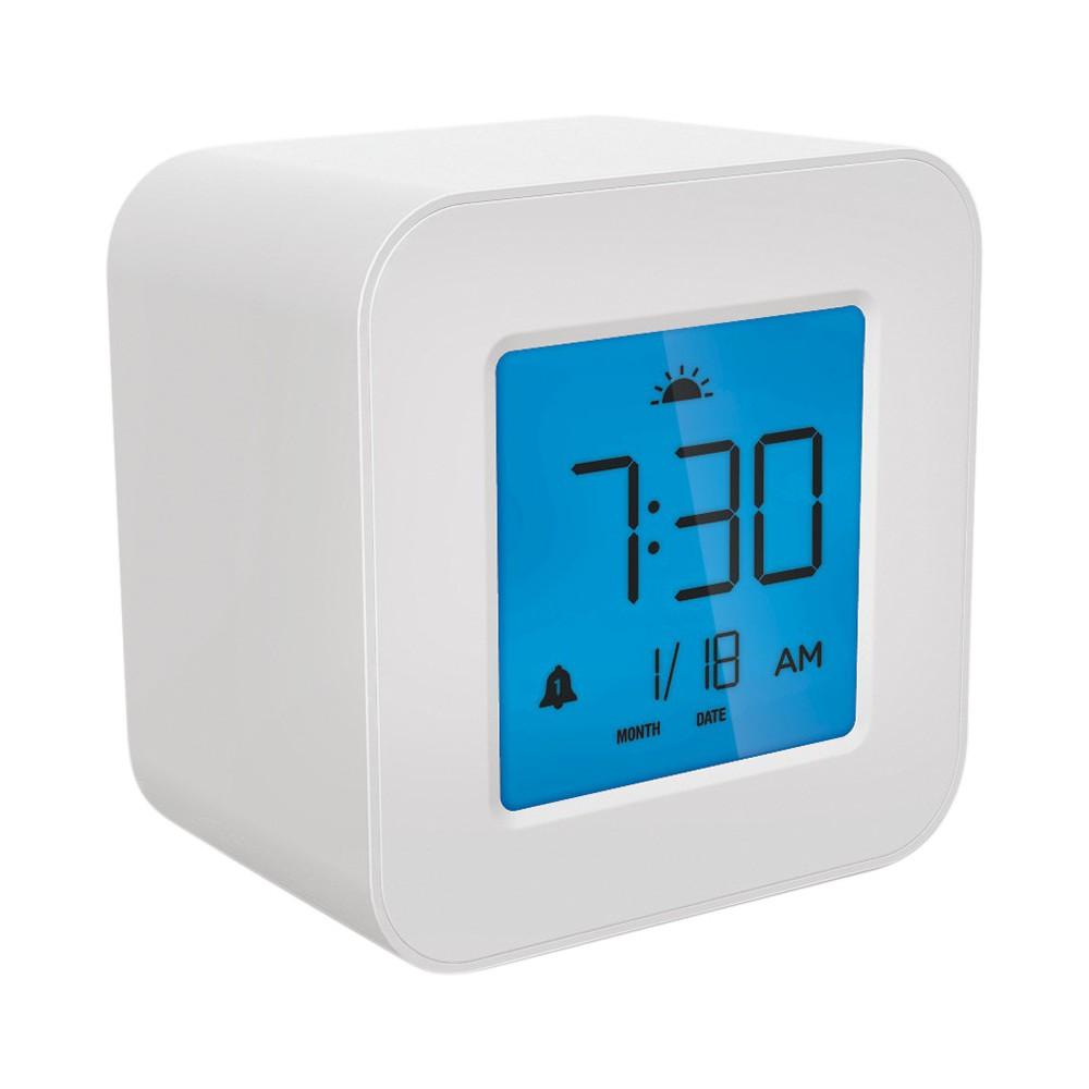 Compact Digital Alarm Clock White Capello Alarm Clock Digital Alarm Clock Modern Alarm Clock