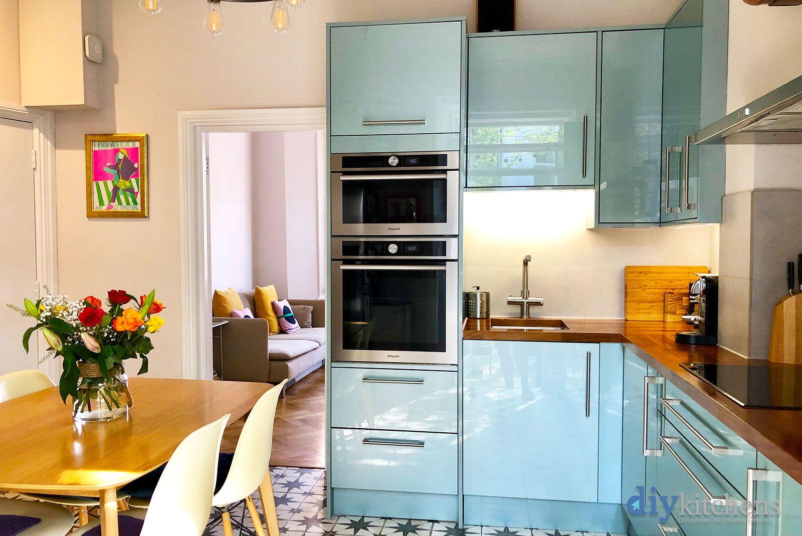 An Innova Altino Petrol Blue High Gloss Kitchen High Gloss Kitchen Gloss Kitchen Blue Kitchen Cabinets