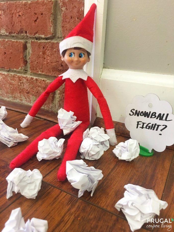 Elf on the Shelf Ideas | Elf Snowball Fight