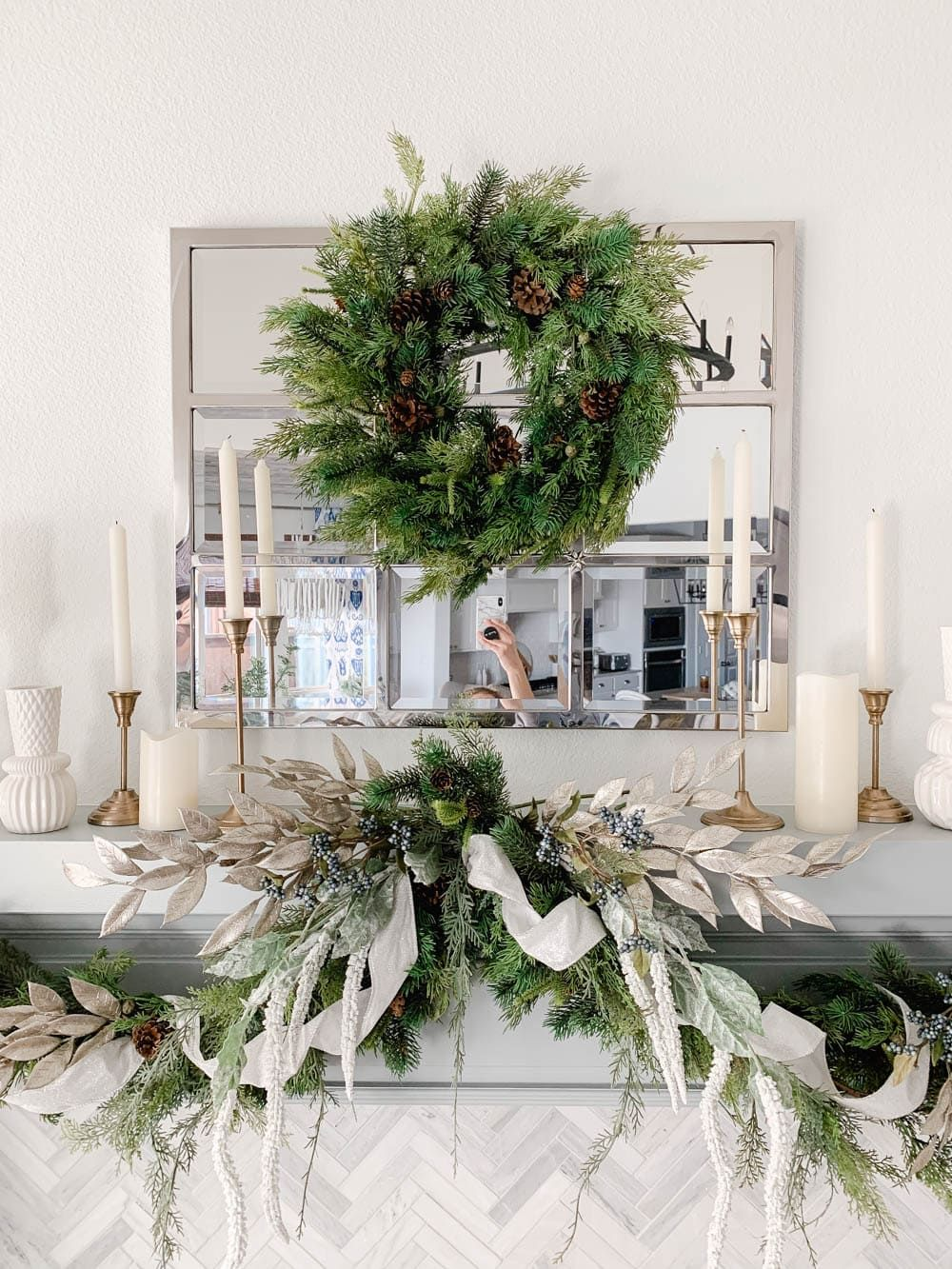 How To Hang A Holiday Garland Without Damaging Your Walls Or Mantle In 2020 Holiday Mantle Decor Holiday Garlands Christmas Mantle