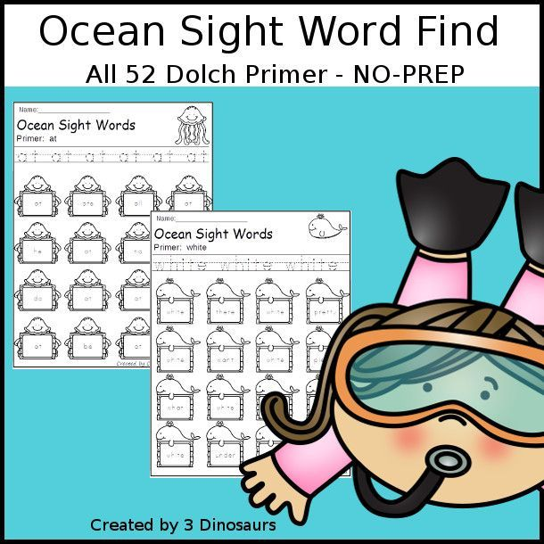 Ocean Sight Word Find: Primer - easy to use no-prep printable - all ...