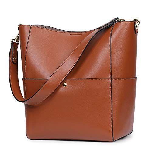 e4697f12bd Shop online S-ZONE Women s Vintage Genuine Leather Bucket Tote Shoulder Bag  Hobo Handbag Purse