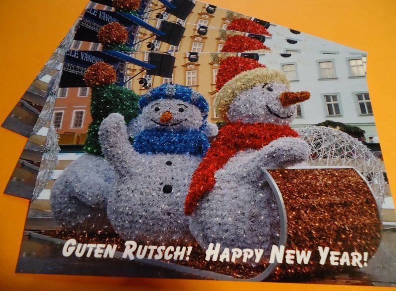 """Snowmen say """"Guten Runtsch"""" (a good slide) into the New Year!"""