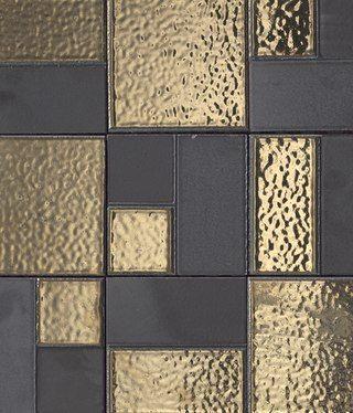 Gold And Grey Tile Kitchen Backsplash Idea Habillage Mural