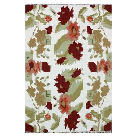 Pixelated Floral Quot Flora Quot Rug Green Amp Burgundy On White