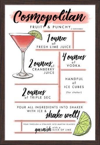 Cosmopolitan – Cocktail Recipe – Lantern Press Artwork (24×36 Giclee Art Print, …