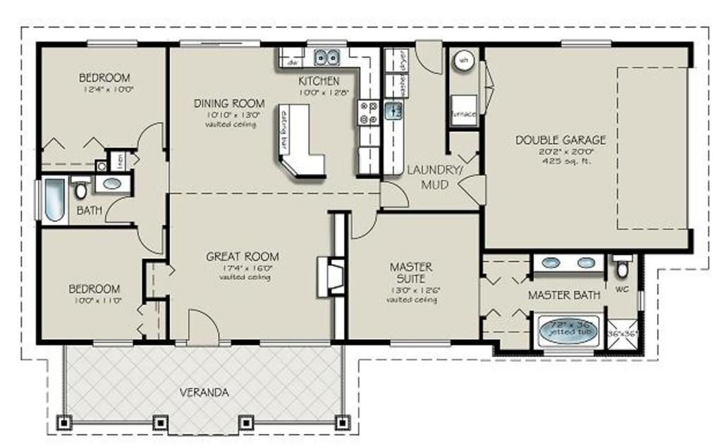 Ranch Style House Plan - 3 Beds 2 Baths 1493 Sq/Ft Plan #427-4
