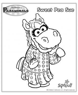 sweet pea sue pajanimals coloring pages pbs kids sprout