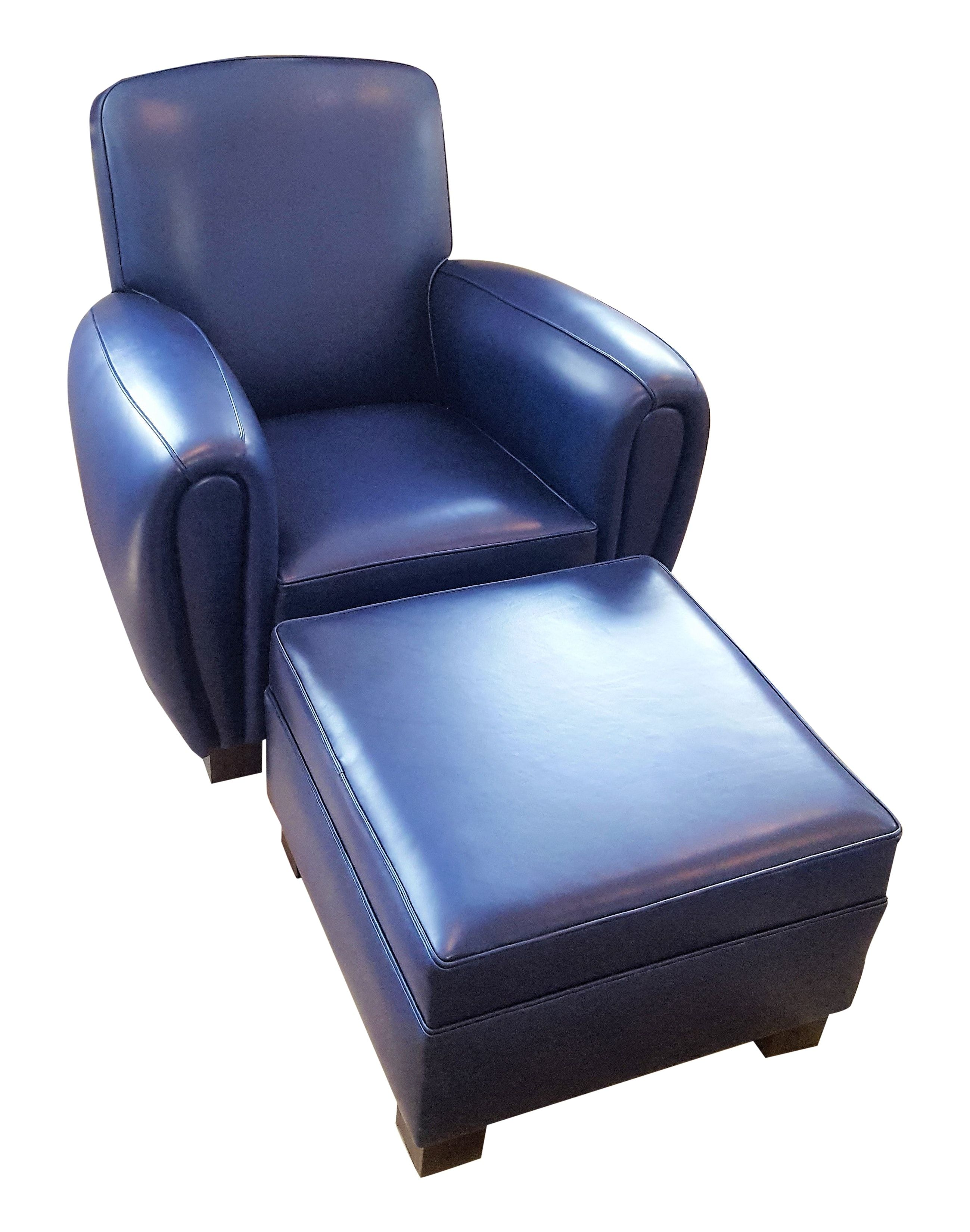 Navy Blue Leather Club Chair Ottoman Leather Chair Blue