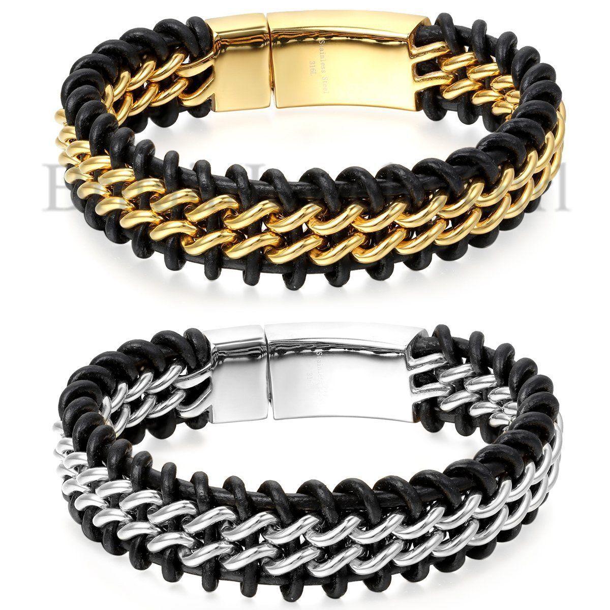 MEN/'s Trendy Genuine Black Braided Leather Stainless Steel Curb Chain Bracelet