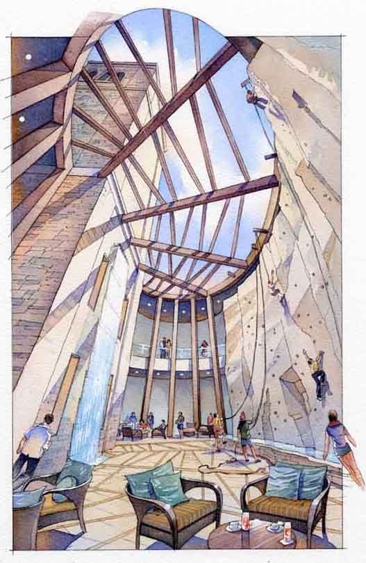 Watercolor Architectural Rendering Interior Design Sketches