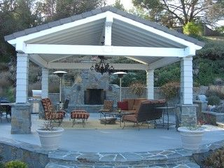 free standing Patio cover with high ceiling and chandelier | Out ...
