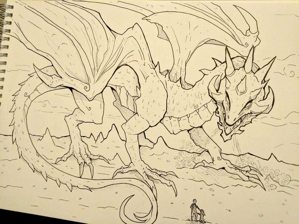 Inktober Day 4 - Dragon by SarahRichford.deviantart.com on ...
