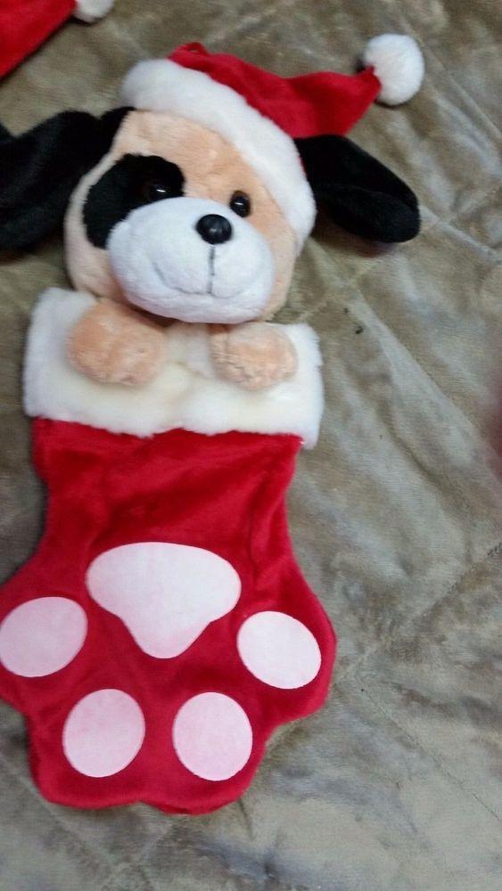 christmas stocking dog plush 14 paw stuffed animal soft puppy