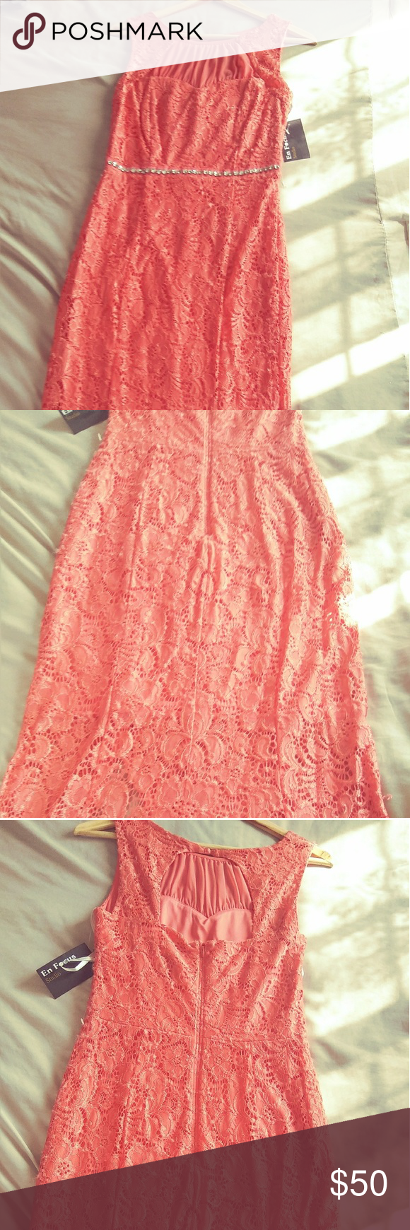 Coral lace long dress nwt my posh picks pinterest lace long