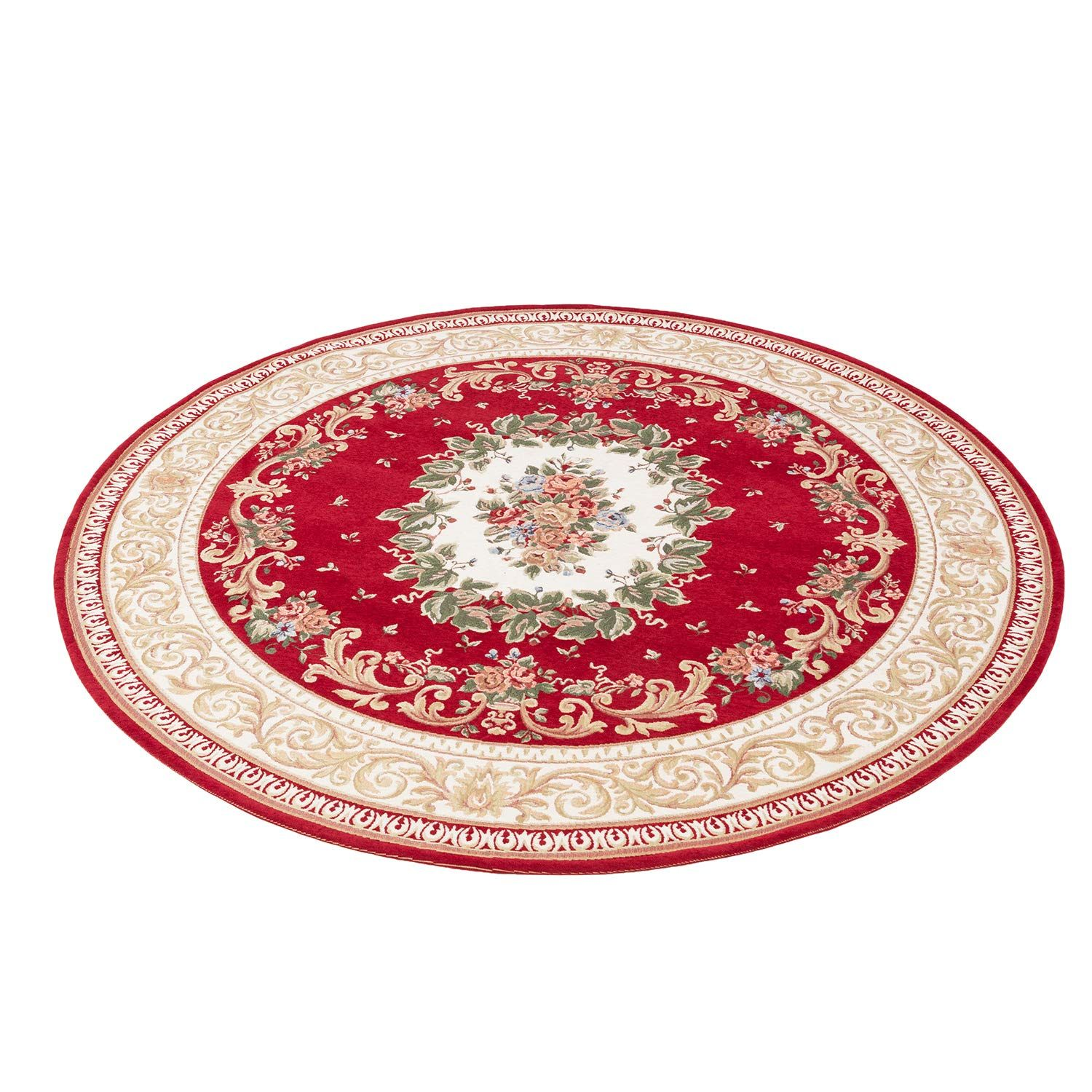 Hihome Noble Red Floral Formal Traditional 4 Round Area Rug For