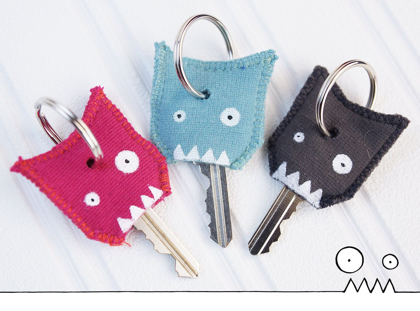 Kit of 3 Funky key cover key cap fabric monster color gift free shipping (20.00 CAD) by LesFunky