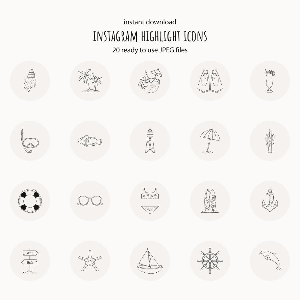 instagram story highlight icons summer instagram story covers social media icons hand drawn icons beach travel icons highlight icon set in 2020 hand drawn icons instagram story story highlights pinterest