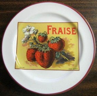 Vintage Rosanna French Strawberry decorative plate made in Italy for Williams Sonoma. & Vintage Rosanna French Strawberry Label Italy Mini Plate | Vintage ...