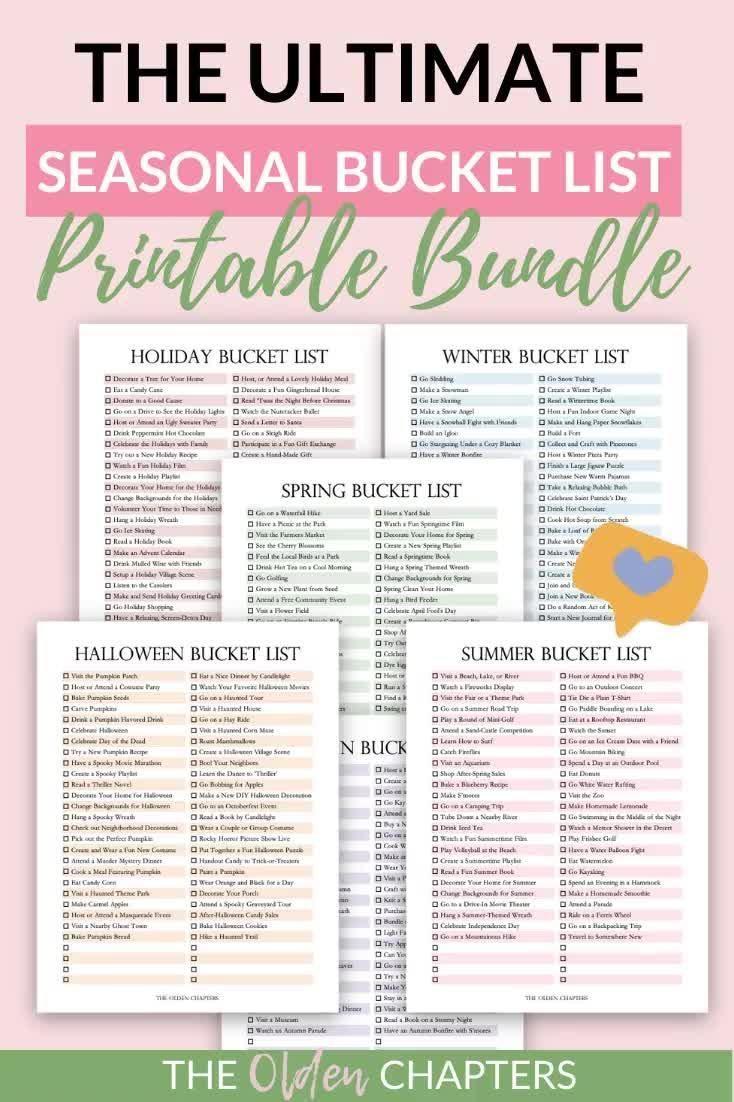 Seasonal Bucket List Printable Bundle   Holiday Pl