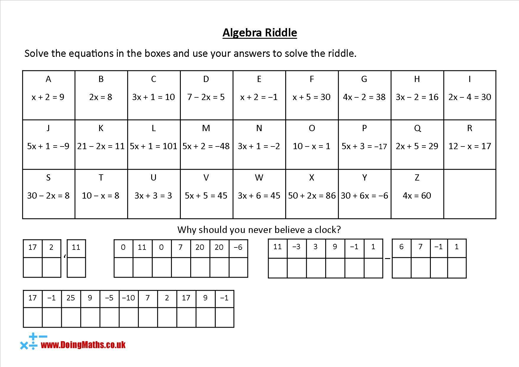 Algebra Riddles Solving Algebraic Equations Practice Algebra Equations Solving Algebraic Equations Equations