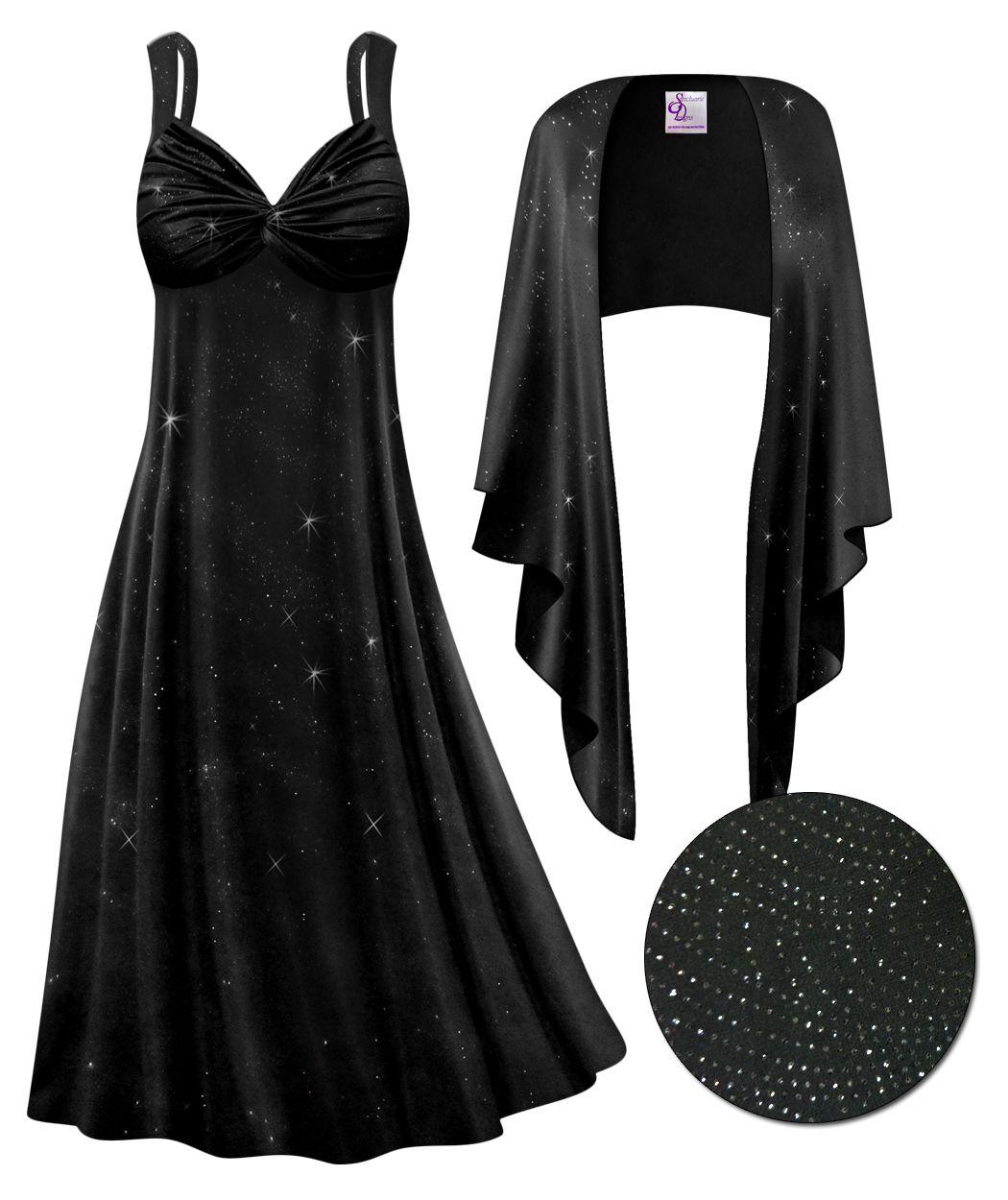 Customizable 2 Piece Black Glittery Lines Slinky Plus Size Supersize