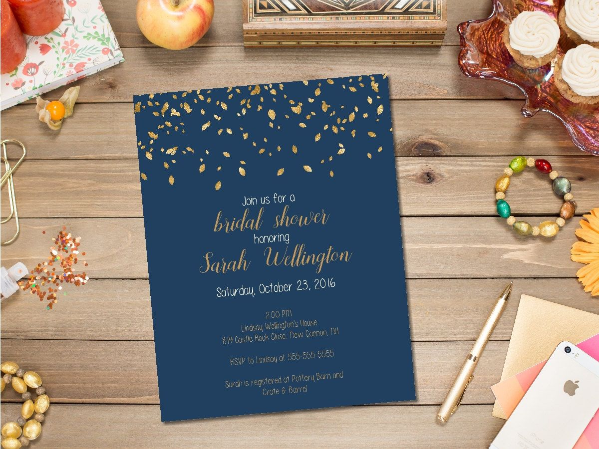 printable navy and gold fall bridal shower invitation autumn bridal shower invite fall in