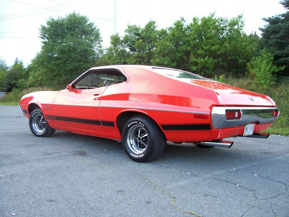 72 Gran Torino Sport Red With Black Stripe Ford Torino Vintage Muscle Cars Classic Cars Trucks Hot Rods