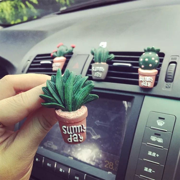 Cactus Car Air Vent Decoration - set of 4.