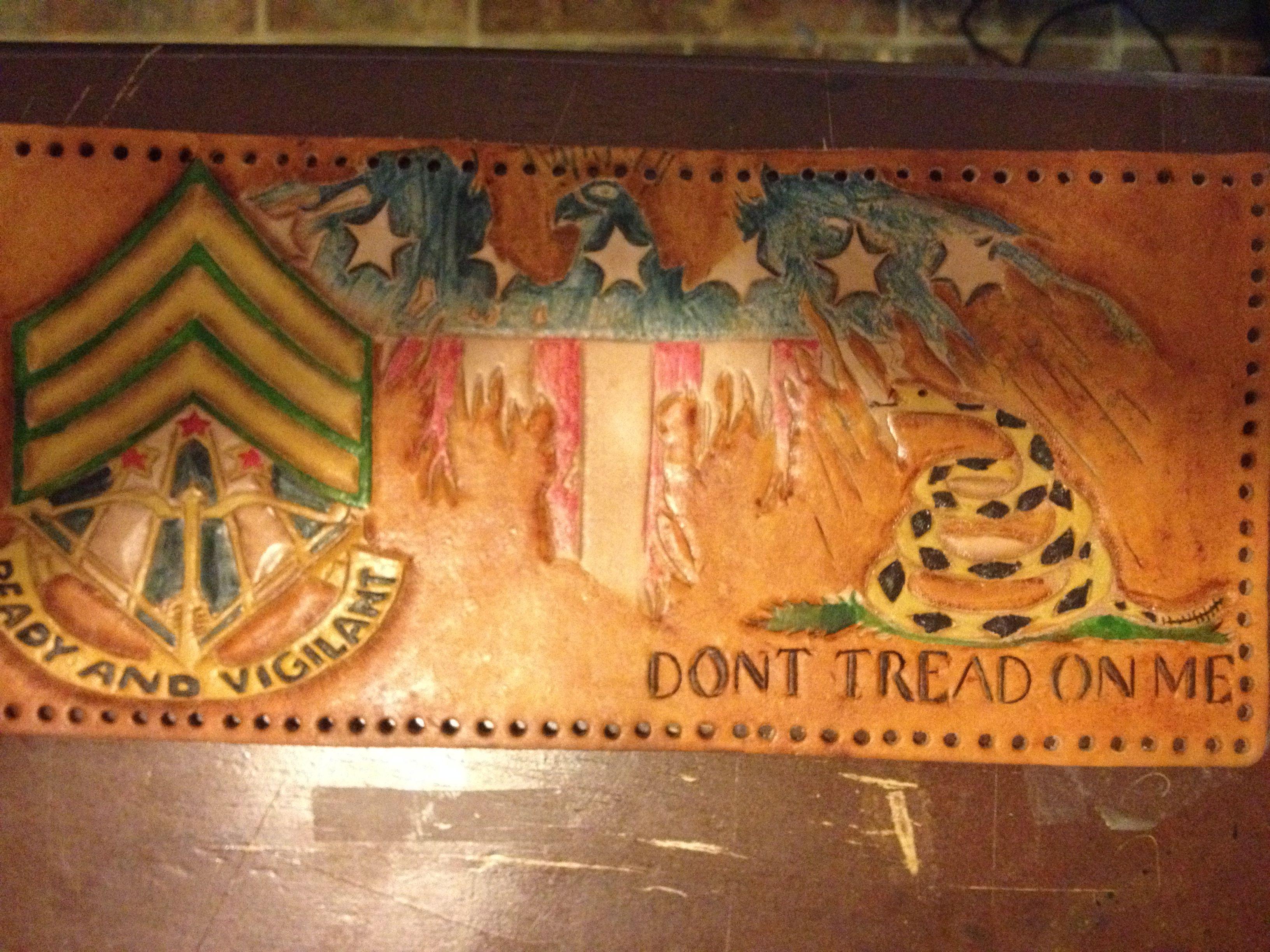 custom army wallet flying flag my custom leather work