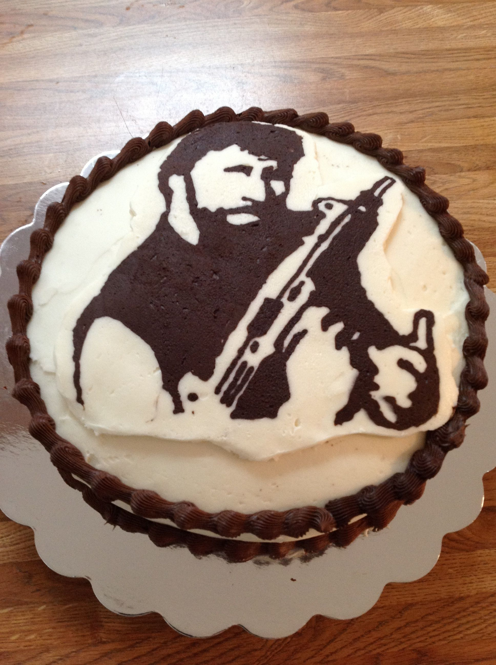 Liams Chuck Norris Birthday Cake Done by frosting and freezer
