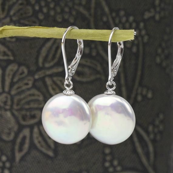 12-18MM White baroque cultured freshwater pearl earrings