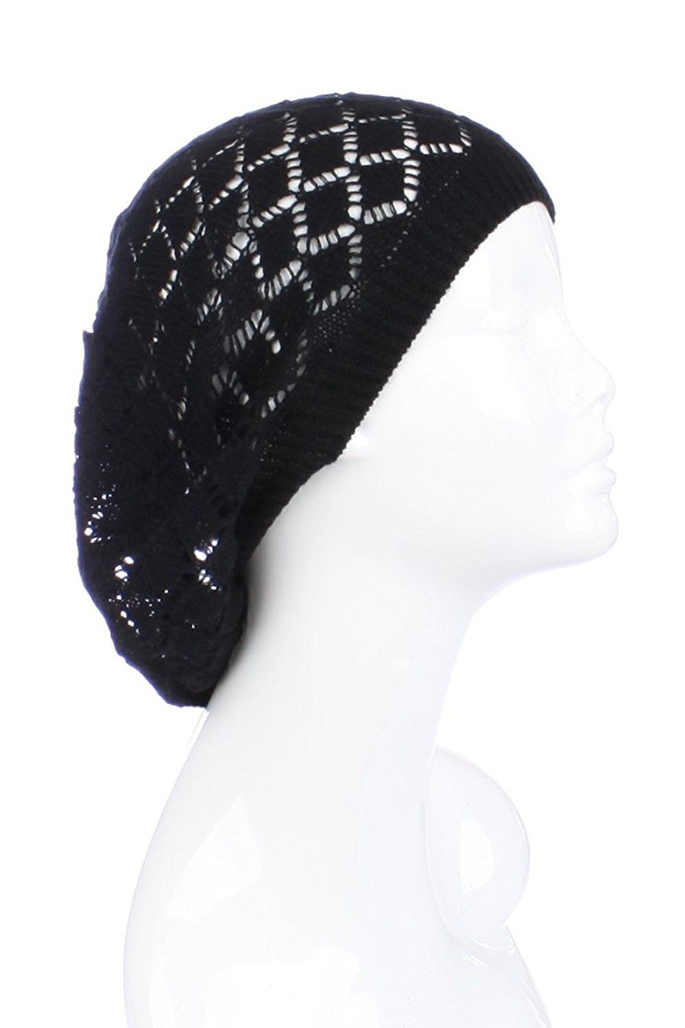 d2745bf5 Hats & Caps, Women's Hats & Caps, Berets, Womens Lightweight Cut Out Knit  Beanie Beret Cap Crochet Hat - Many Styles - Black Diamond - CA12LCQ5R3R # hats ...
