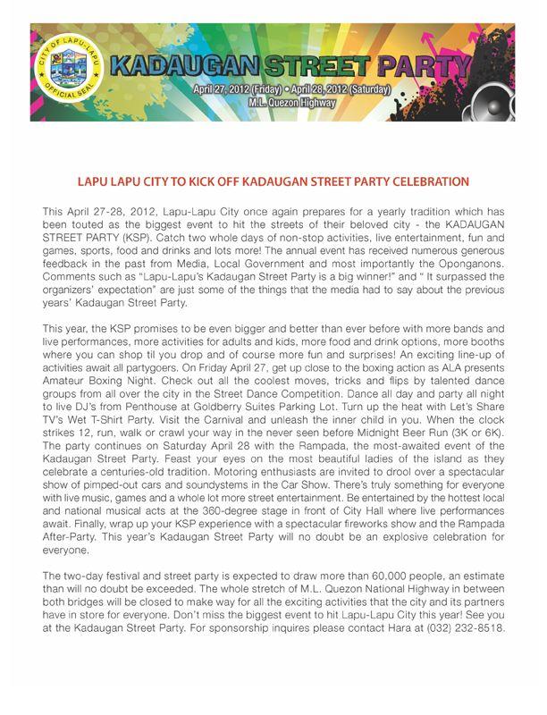 Kadaugan Street Party 2012- Another Next Big Thing in Cebu!