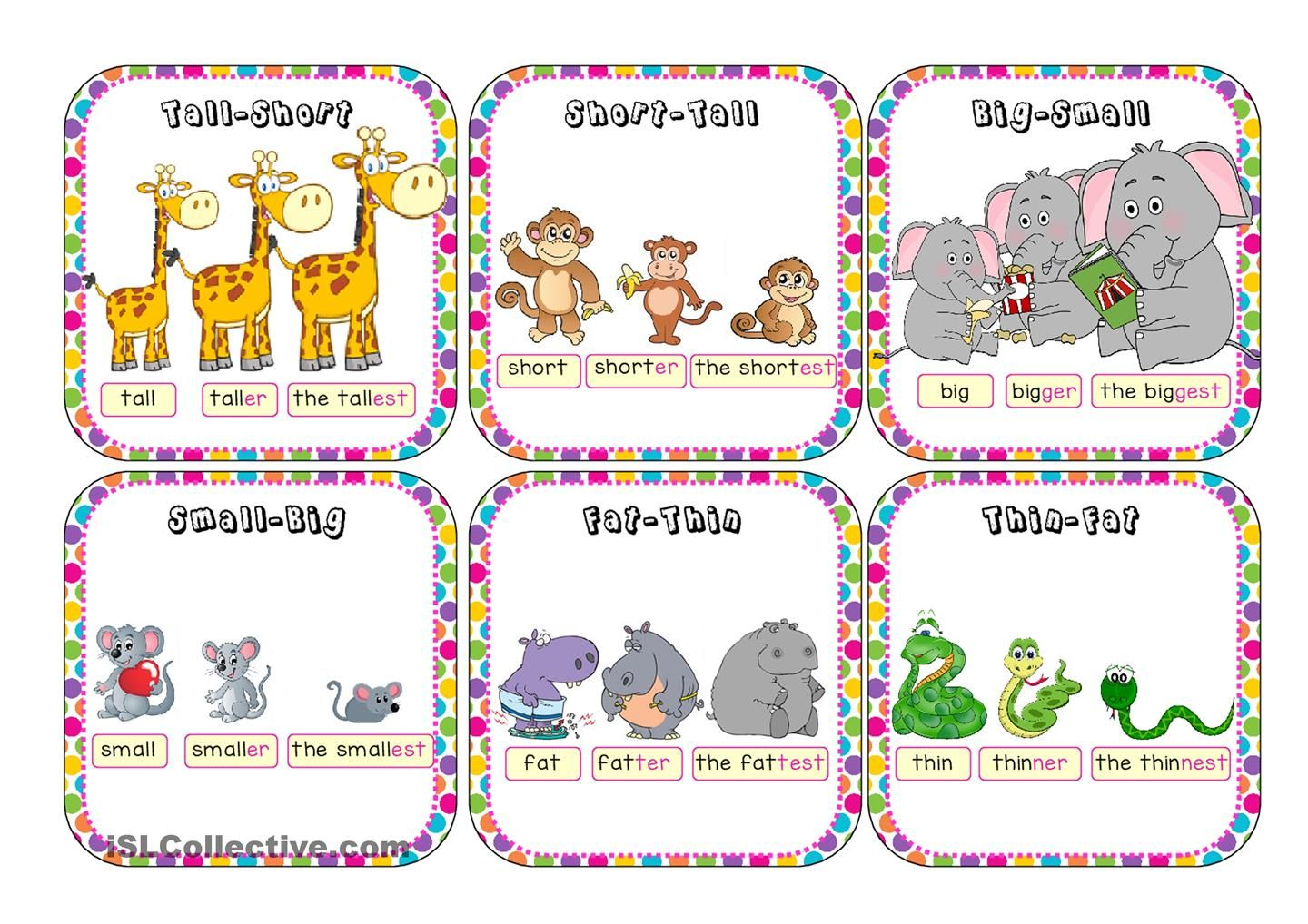 Comparatives And Superlatives Go Fish Adjectives For Kids Free Preschool Printables Spanish Learning Activities [ 1018 x 1440 Pixel ]