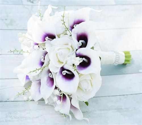 Purple Heart Picasso Callas, Roses and Hydrangeas Bouquet - Rich Bouquet made with Natural Touch Off-White Roses and Purple Heart Picasso Calla Lilies #purpleweddingflowers