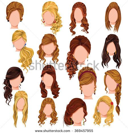 Vector Design Beautiful Collection Female Hairdo S