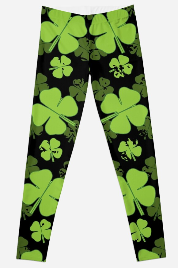 """Saint Patrick, known as the """"Apostle of Ireland"""", he is the primary patron saint of Ireland. #madjack, #meme, #clover, #lucky, #saint, #snake, #christian, #legend, #myth, #ireland, #patron, #bishop, #drink, #booze, #alcohol, #beer • Millions of unique designs by independent artists. Find your thing. #saint patricks day memes 'SAINT PATRICKS FOUR LEAF CLOVER PATTERN' Leggings by Madjack66"""