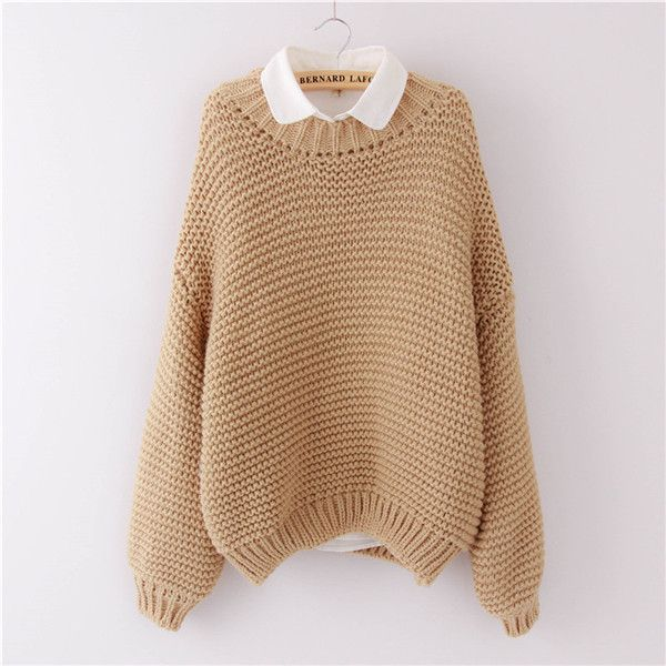 b3f936b07d Women Korean Sweater Thick Coarse Wool Knitted Lantern Sleeve Tops Fashion  Casual For Spring Autumn Winter Knitted Pullover Who like it   Get it here
