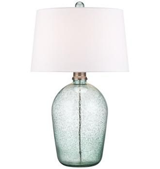 Hand-Blown Teal Bubble Glass Table Lamp