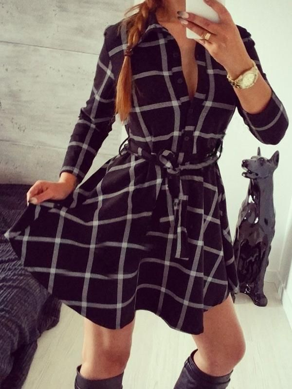 Retro Style Women's Sexy V Lapel Neck Plaid Shirt Dress Slim Belted Three Quarter Sleeve Mini Skater Dress Casual Style