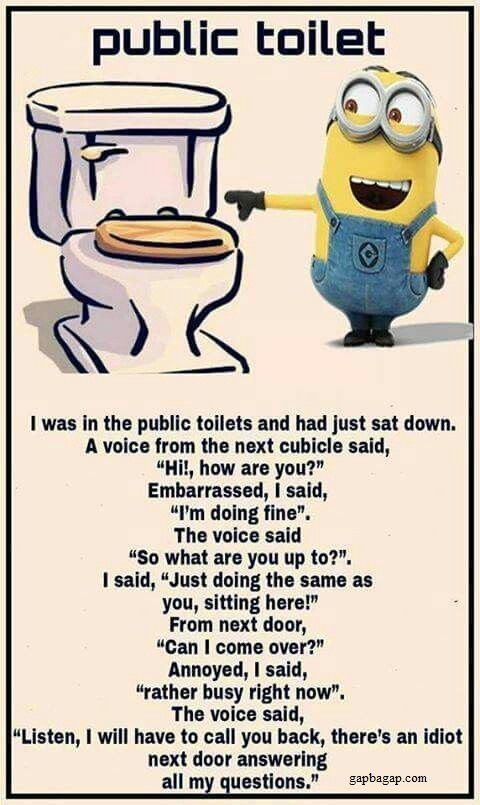 Small Bathroom Jokes funny #minion #joke about public toilets | minnetonka moccasins